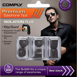 Comply Isolation Plus Tx-500 Memory Foam Earphone Tips with WaxGuard, Noise Cancelling Soft Replacement Earbud Tips, Secure Fit   (Medium, 3 Pair)