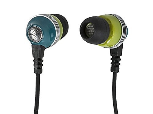 Monoprice 110153 Enhanced Bass Noise Isolating Earbuds Headphones – Green with Built-in microphone and Play/Pause Control for Apple Iphone iPod Android Smartphone Samsung Galaxy Tablets MP3