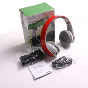 New Over-Ear- HiFi Stereo-with Mic-Phone- Bluetooth Headphones Headset with Retail Package-Red Color-Best Gift